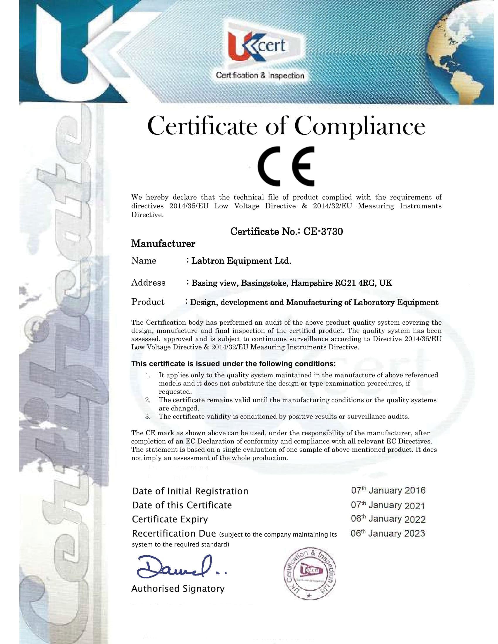 Labtron Equipment Ltd. CE-3730 : Labtron Certification