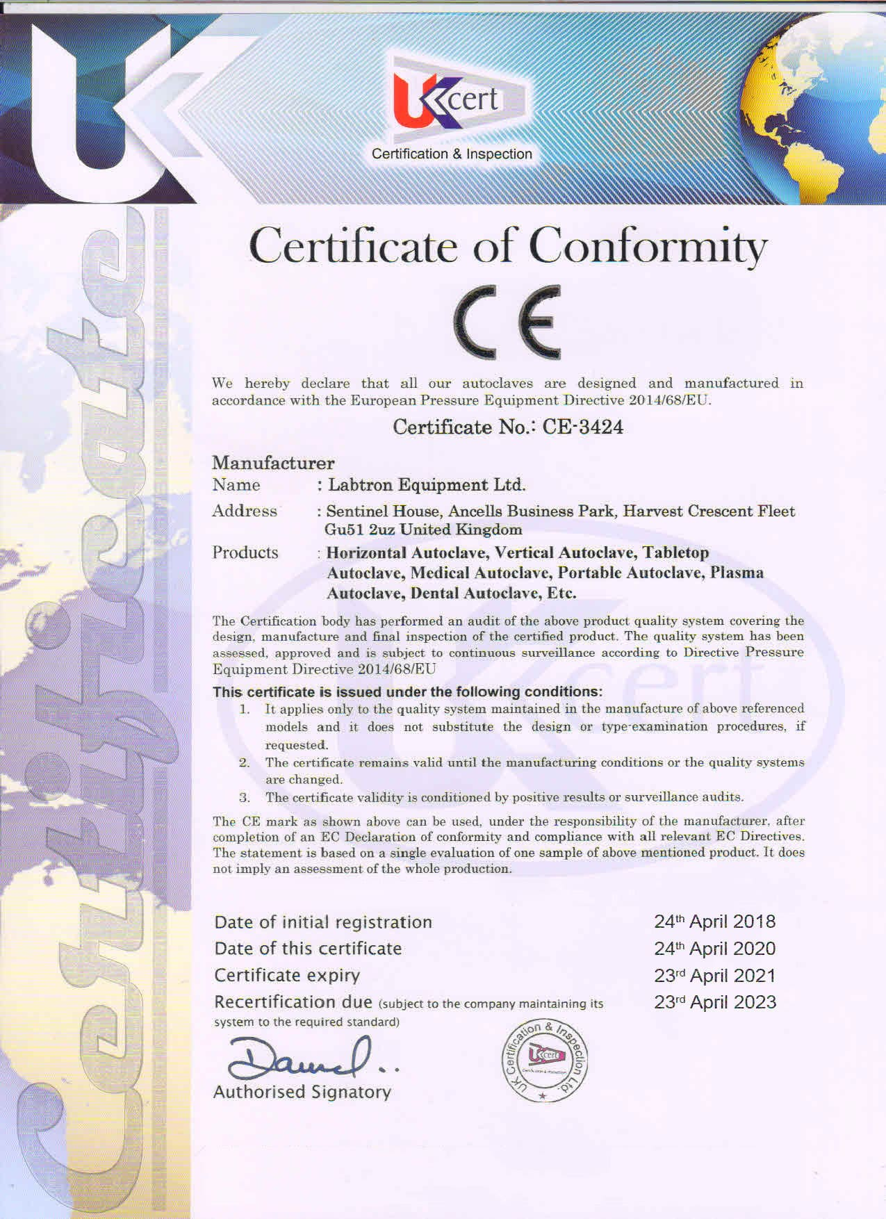 Labtron Equipment Ltd. Certificate of Conformity : Labtron Certification