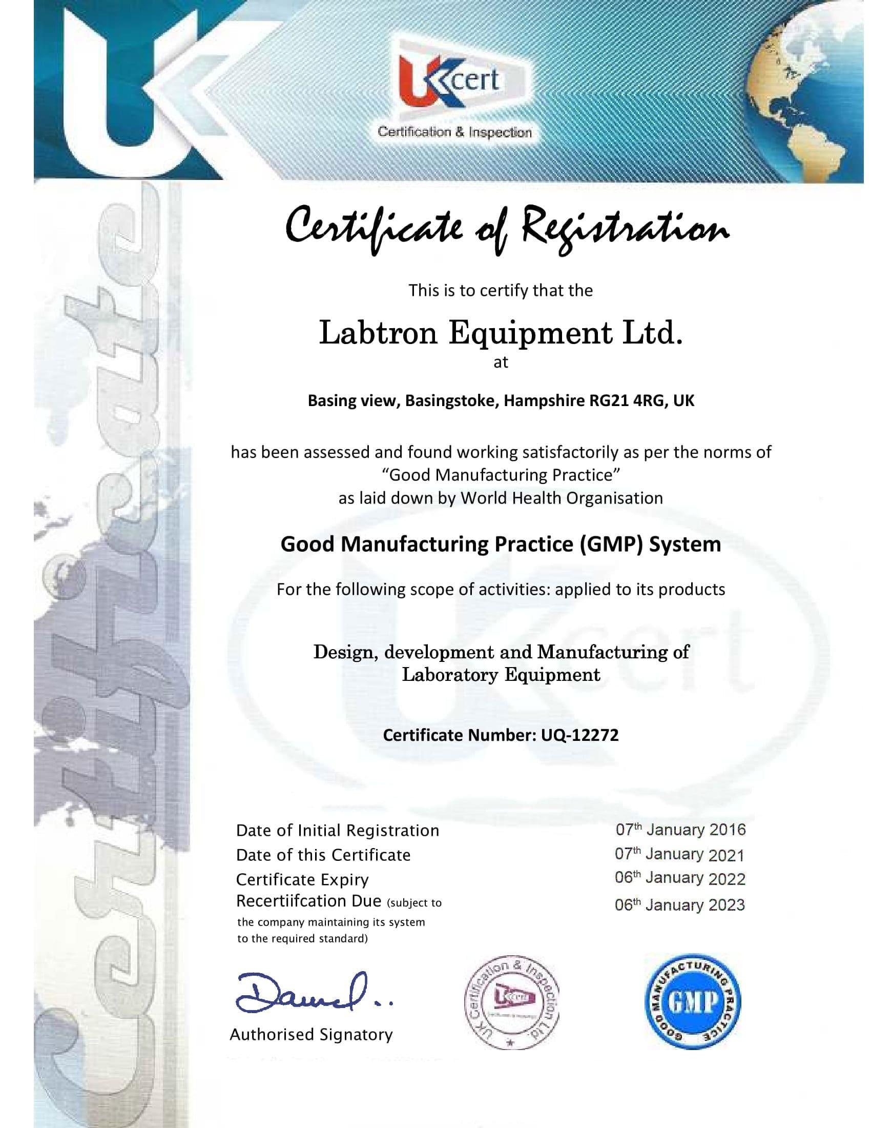 Labtron Equipment Ltd. GMP UQ-4600 UKCert : Labtron Certification