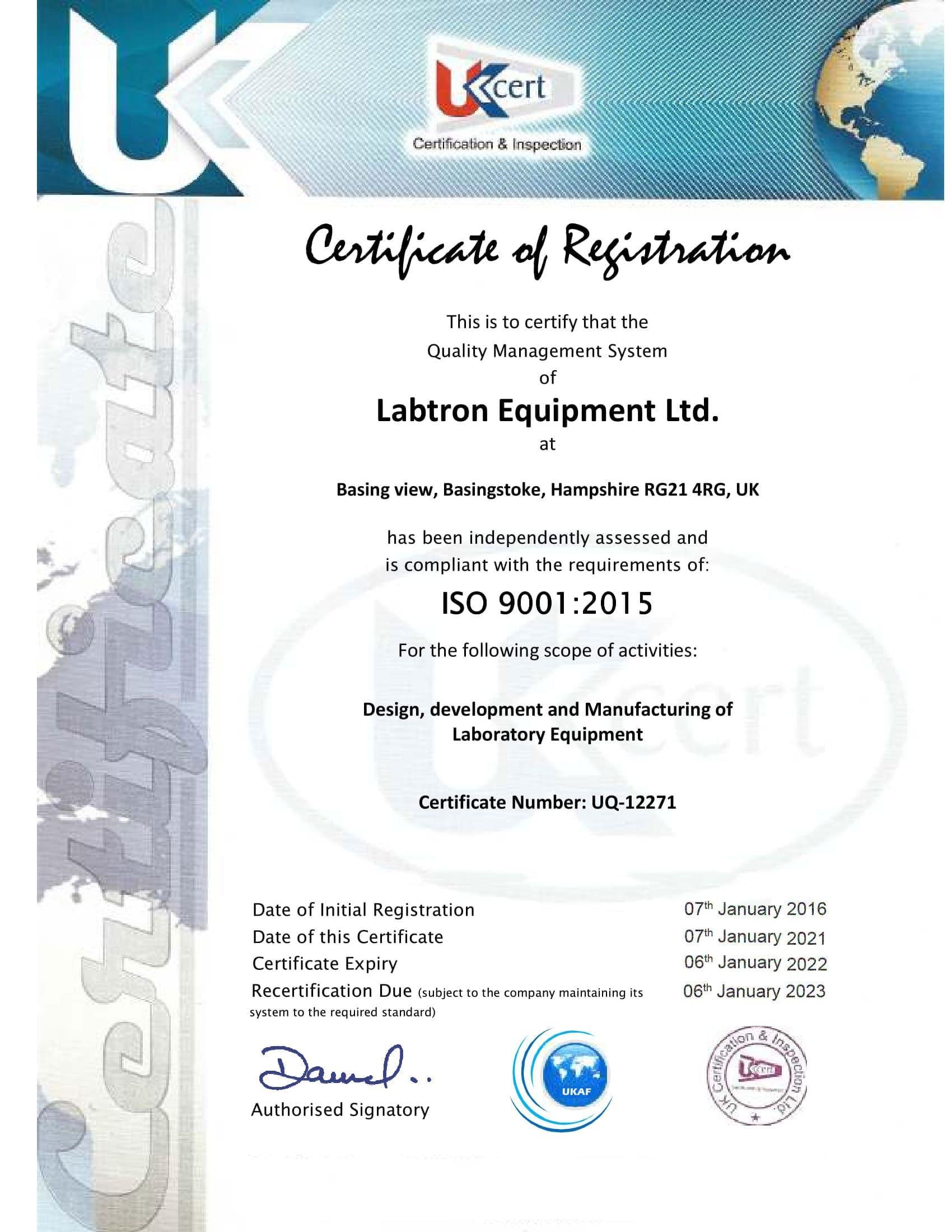 Labtron Equipment Ltd. ISO 9001 UKCert : Labtron Certification